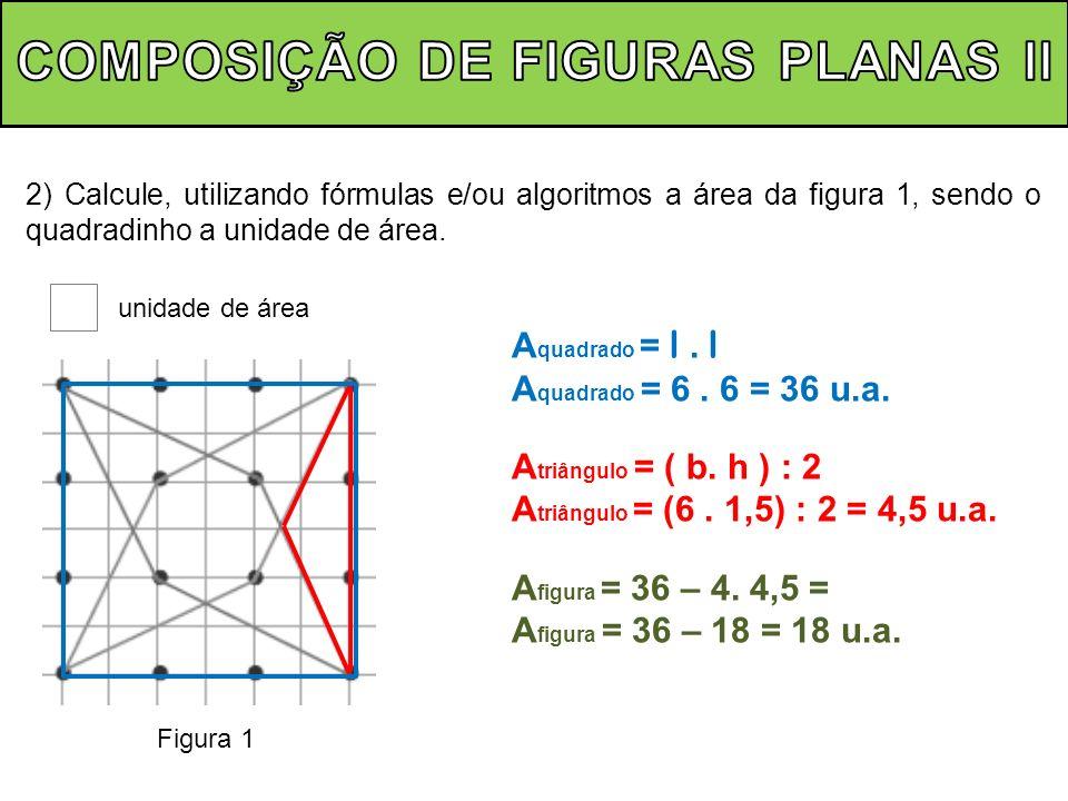 2) Calcule, utilizando fórmulas e/ou algoritmos a área da figura 1, sendo o quadradinho a unidade de área. unidade de área Figura 1 A quadrado = l. l