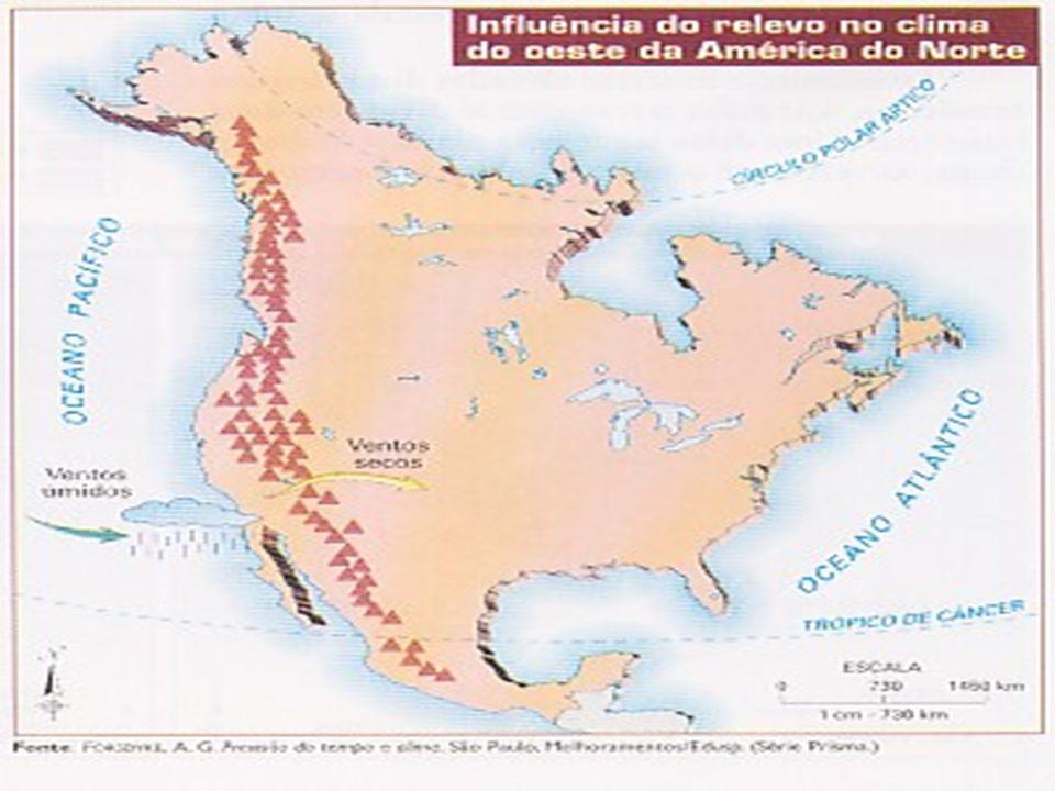 A influência do relevo aparece de maneira marcante no continente americano. Os ventos úmidos vindos da costa do Pacífico ao encontrar as grandes cadei