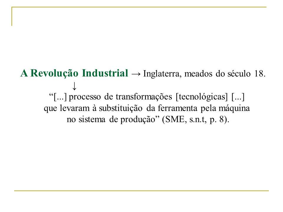 A Revolução Industrial Inglaterra, meados do século 18. [...] processo de transformações [tecnológicas] [...] que levaram à substituição da ferramenta