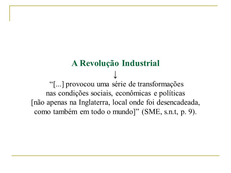 A Revolução Industrial [...] provocou uma série de transformações nas condições sociais, econômicas e políticas [não apenas na Inglaterra, local onde