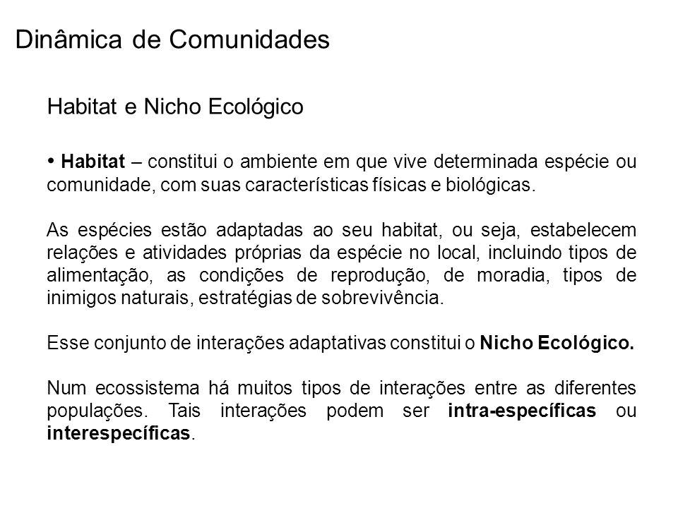 Habitat e Nicho Ecológico Habitat – constitui o ambiente em que vive determinada espécie ou comunidade, com suas características físicas e biológicas.