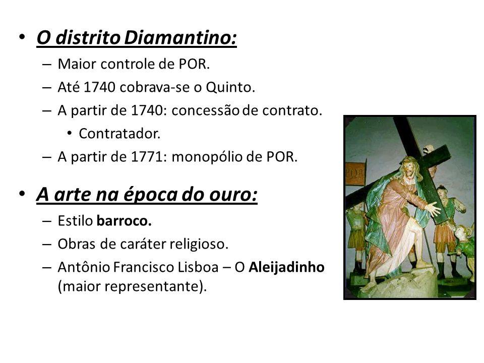 O distrito Diamantino: – Maior controle de POR.– Até 1740 cobrava-se o Quinto.