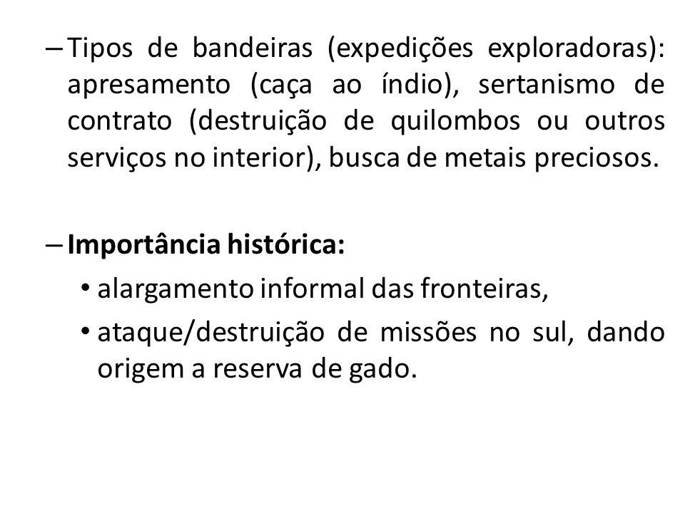 – Tipos de bandeiras (expedições exploradoras): apresamento (caça ao índio), sertanismo de contrato (destruição de quilombos ou outros serviços no interior), busca de metais preciosos.