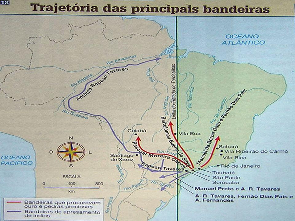 descoberta de ouro (nos atuais estados de MG, MT e GO) A administração aurífera: – Intendência das Minas (1702) – órgão criado por Portugal para administrar a região das minas.