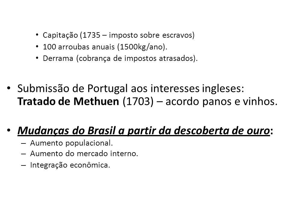 Capitação (1735 – imposto sobre escravos) 100 arroubas anuais (1500kg/ano).