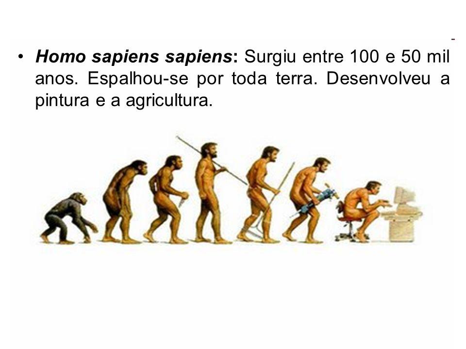 Homo sapiens sapiens: Surgiu entre 100 e 50 mil anos. Espalhou-se por toda terra. Desenvolveu a pintura e a agricultura.