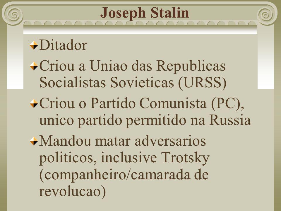 Joseph Stalin Ditador Criou a Uniao das Republicas Socialistas Sovieticas (URSS) Criou o Partido Comunista (PC), unico partido permitido na Russia Man
