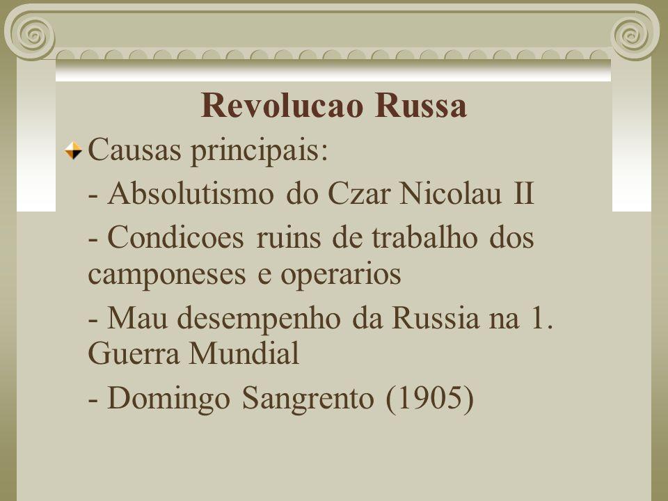 Revolucao Russa Causas principais: - Absolutismo do Czar Nicolau II - Condicoes ruins de trabalho dos camponeses e operarios - Mau desempenho da Russi