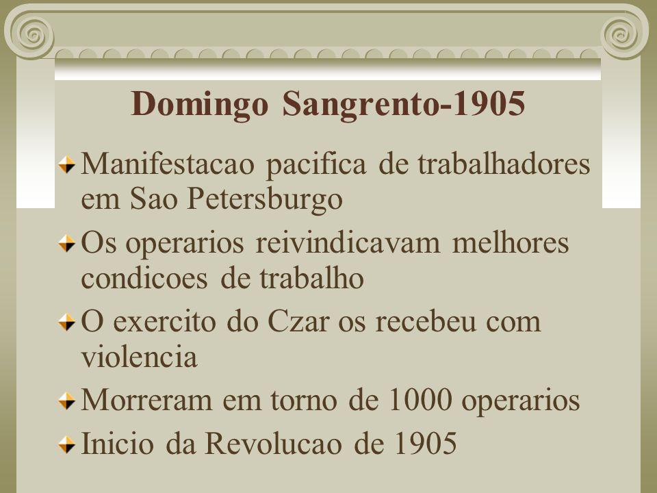 Partido Operario Social-Democrata Russo Contra o governo do Czar Defendia um governo socialista Dividia-se em dois grupos: - Mencheviques (minoria) - moderados que queriam alianca com a burguesia (socialismo e burguesia.