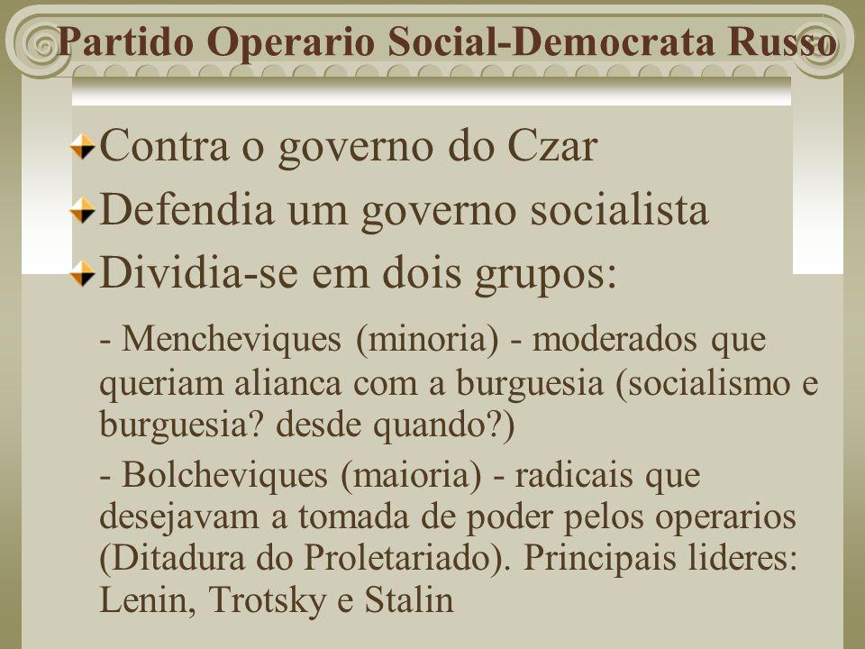 Partido Operario Social-Democrata Russo Contra o governo do Czar Defendia um governo socialista Dividia-se em dois grupos: - Mencheviques (minoria) -
