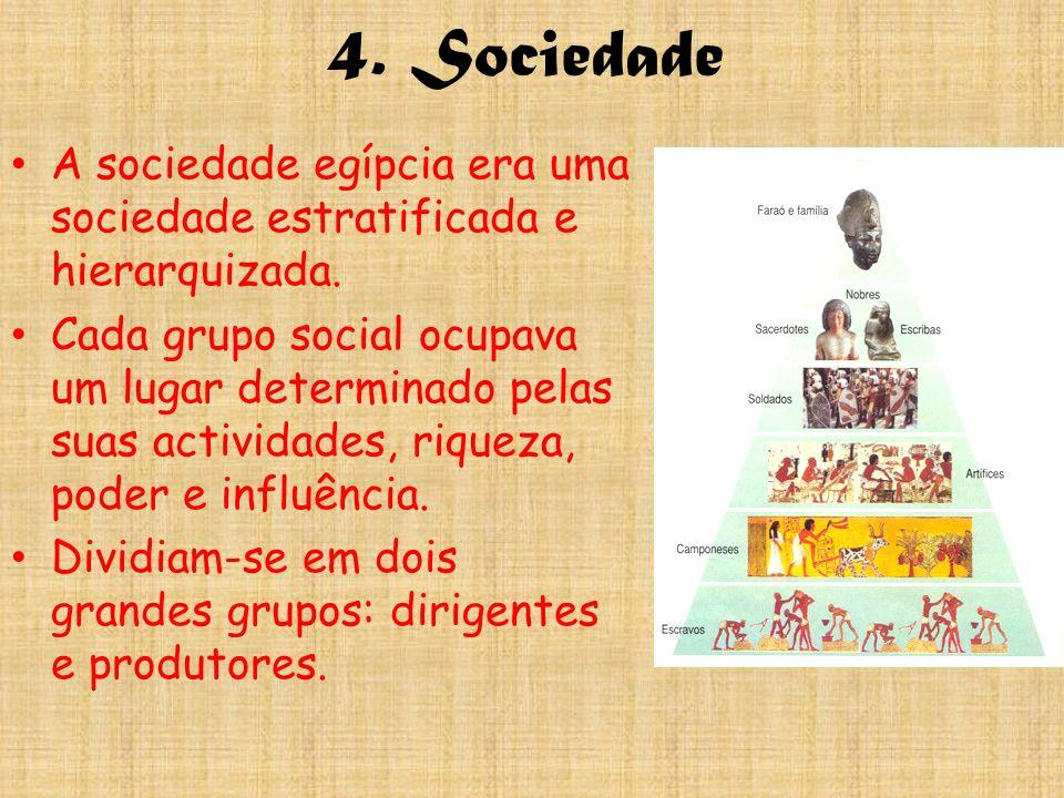 4. Sociedade A sociedade egípcia era uma sociedade estratificada e hierarquizada. Cada grupo social ocupava um lugar determinado pelas suas actividade