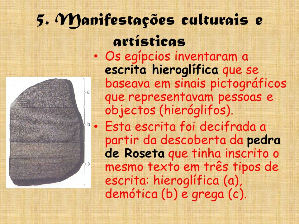 5. Manifestações culturais e artísticas Os egípcios inventaram a escrita hieroglífica que se baseava em sinais pictográficos que representavam pessoas