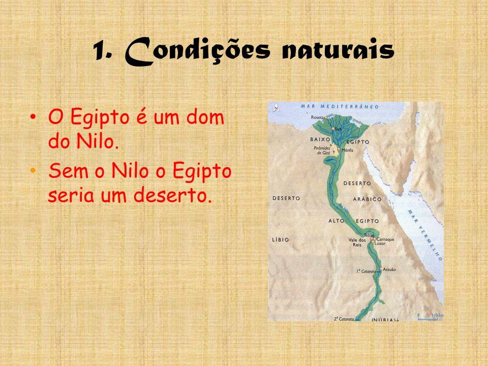1. Condições naturais O Egipto é um dom do Nilo. Sem o Nilo o Egipto seria um deserto.