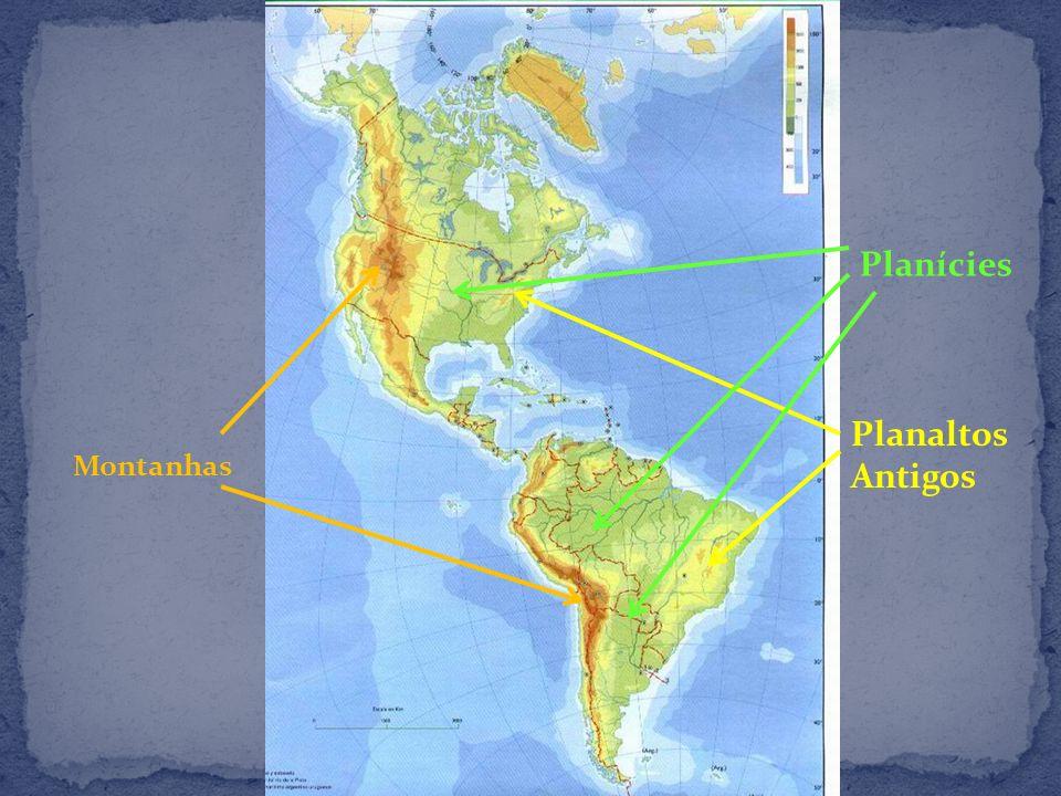 Em função do encontro das placas tectônicas na costa oeste do continente americano surgiram: as Montanhas Rochosas no Canadá e nos Estados Unidos; a Serra Madre no México e; a Cordilheira dos Andes na América do Sul.