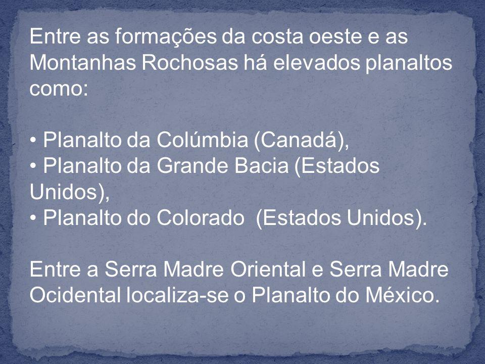 Entre as formações da costa oeste e as Montanhas Rochosas há elevados planaltos como: Planalto da Colúmbia (Canadá), Planalto da Grande Bacia (Estados