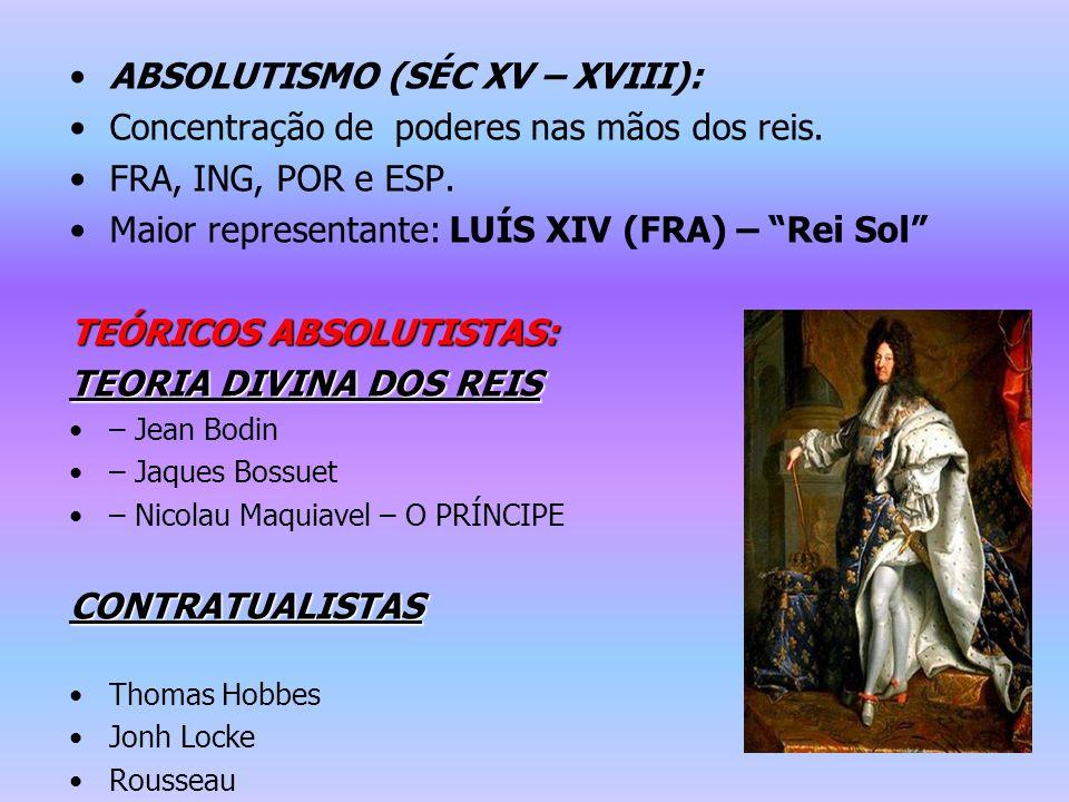 ABSOLUTISMO (SÉC XV – XVIII): Concentração de poderes nas mãos dos reis. FRA, ING, POR e ESP. Maior representante: LUÍS XIV (FRA) – Rei Sol TEÓRICOS A