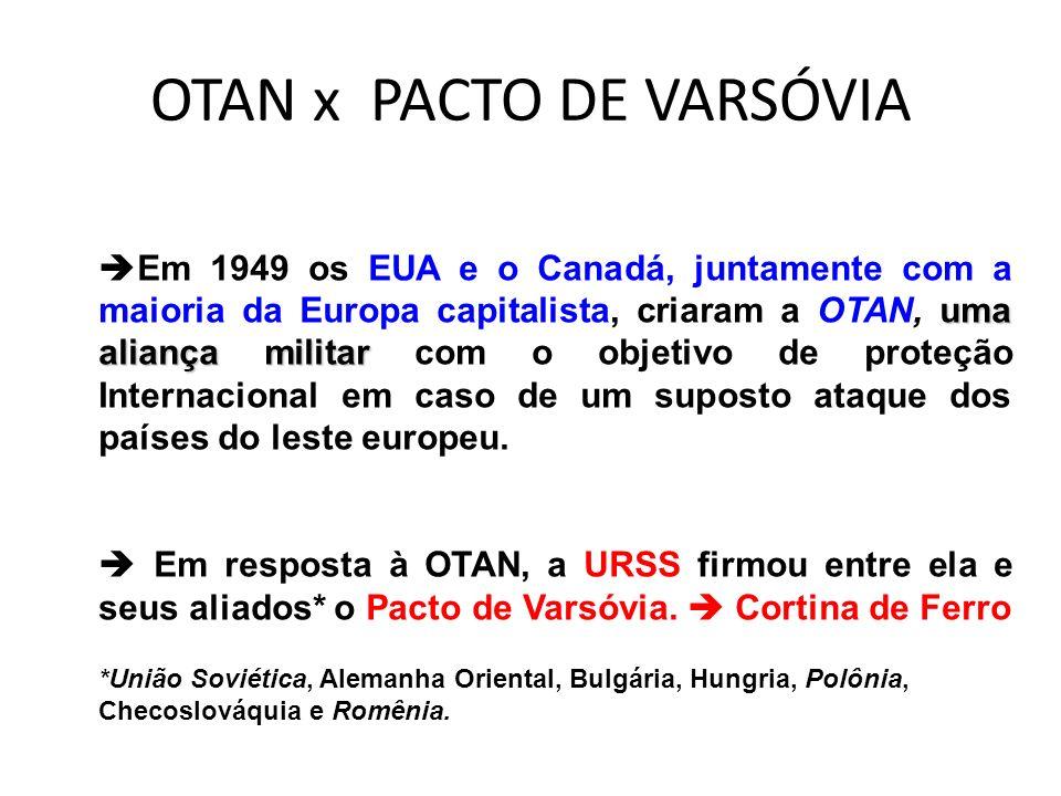 OTAN x PACTO DE VARSÓVIA uma aliança militar Em 1949 os EUA e o Canadá, juntamente com a maioria da Europa capitalista, criaram a OTAN, uma aliança mi