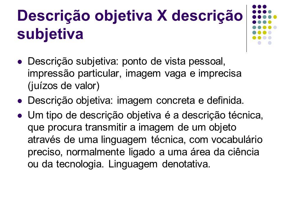 Descrição objetiva X descrição subjetiva Descrição subjetiva: ponto de vista pessoal, impressão particular, imagem vaga e imprecisa (juízos de valor)