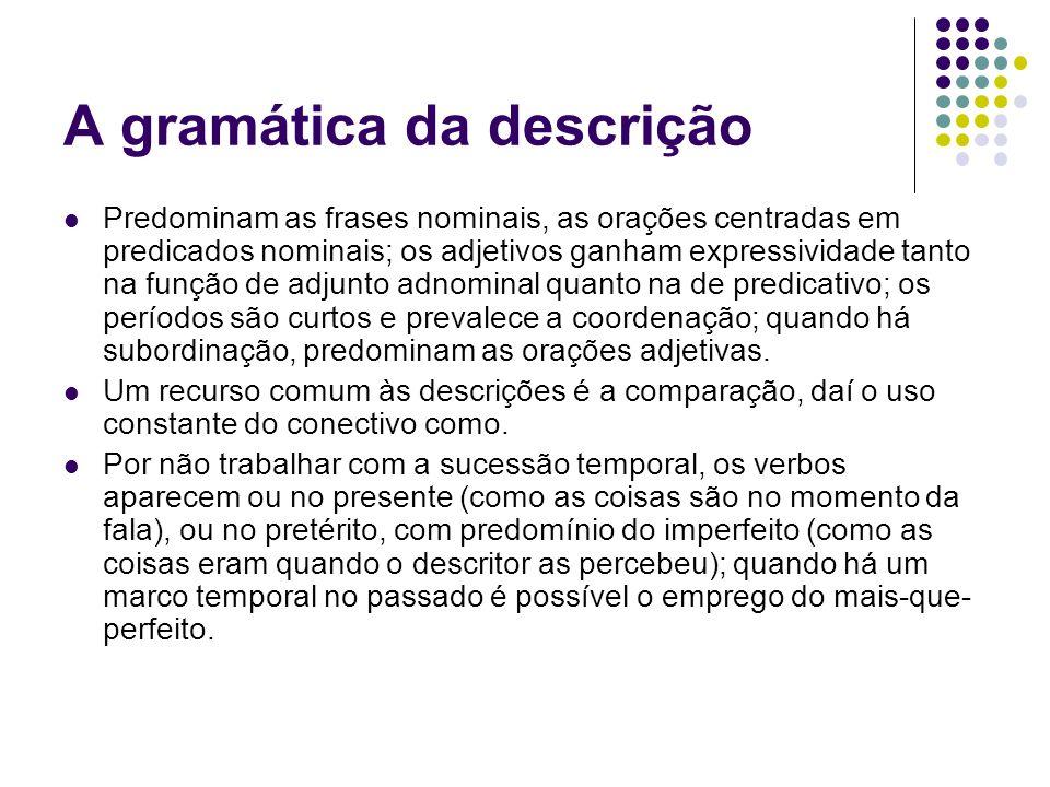 A gramática da descrição Predominam as frases nominais, as orações centradas em predicados nominais; os adjetivos ganham expressividade tanto na funçã