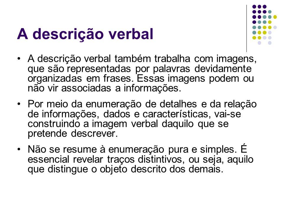 A descrição verbal A descrição verbal também trabalha com imagens, que são representadas por palavras devidamente organizadas em frases. Essas imagens