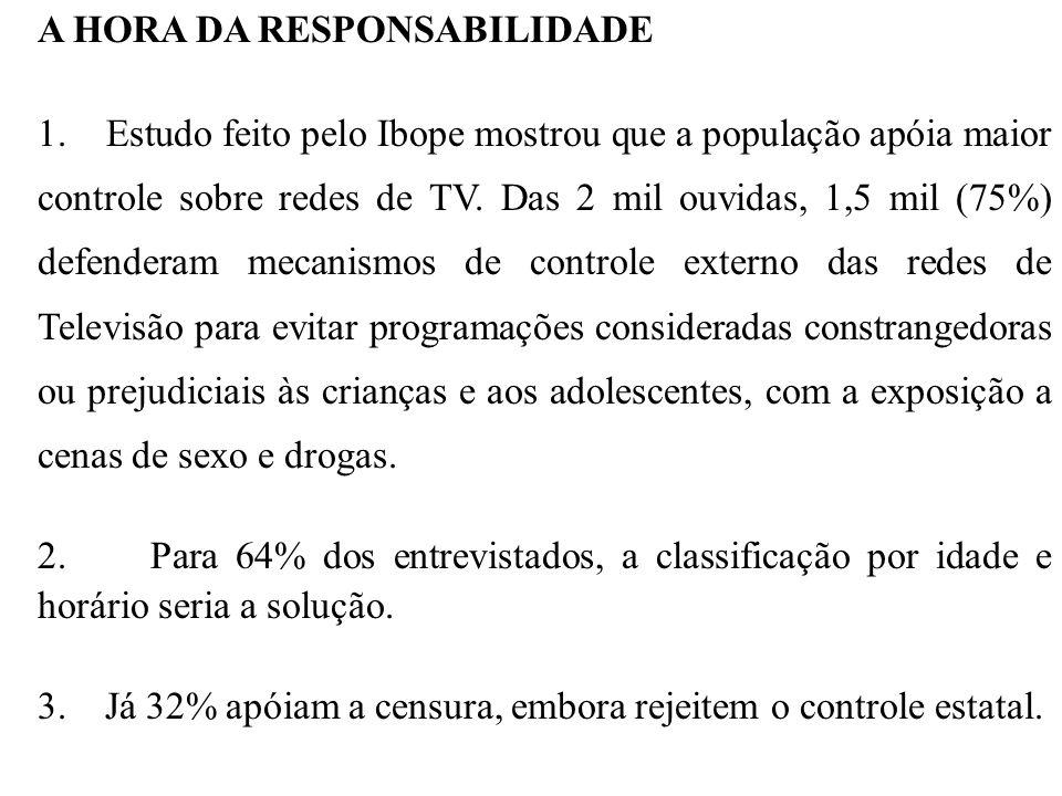 A HORA DA RESPONSABILIDADE 1. Estudo feito pelo Ibope mostrou que a população apóia maior controle sobre redes de TV. Das 2 mil ouvidas, 1,5 mil (75%)
