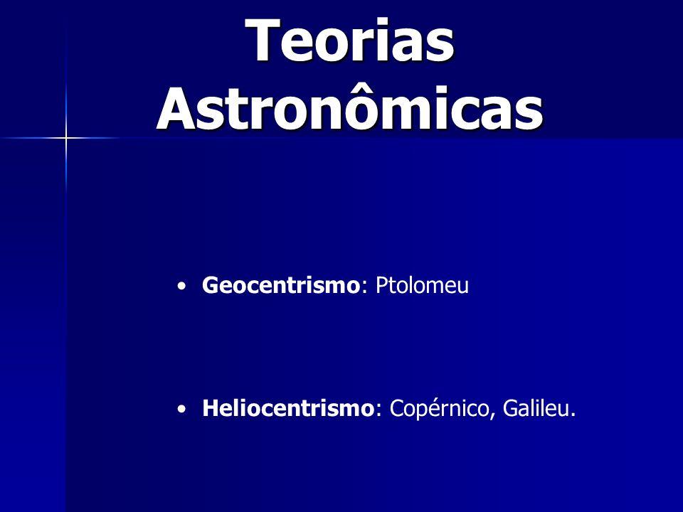 Teorias Astronômicas Geocentrismo: Ptolomeu Heliocentrismo: Copérnico, Galileu.