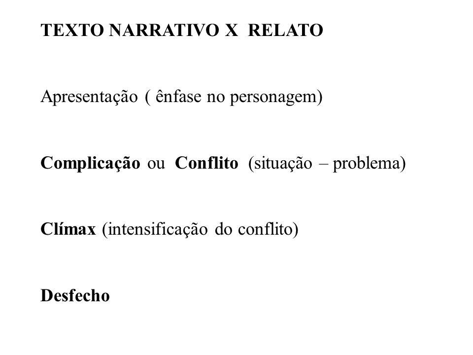 TEXTO NARRATIVO X RELATO Apresentação ( ênfase no personagem) Complicação ou Conflito (situação – problema) Clímax (intensificação do conflito) Desfec