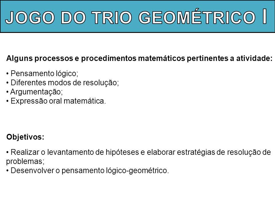 Alguns processos e procedimentos matemáticos pertinentes a atividade: Pensamento lógico; Diferentes modos de resolução; Argumentação; Expressão oral m