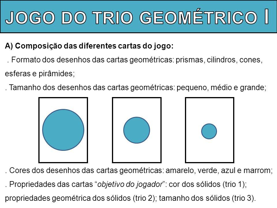 B) Objetivos do jogo: Formar 3 trios de cartas (trincas) que contenham as propriedades, os tamanhos e as cores dos sólidos geométricos, indicados na carta objetivo do jogador.