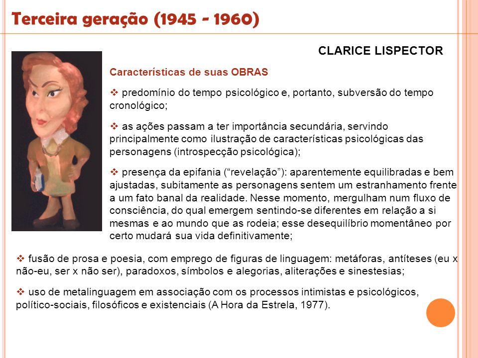 Terceira geração (1945 - 1960) Características de suas OBRAS predomínio do tempo psicológico e, portanto, subversão do tempo cronológico; as ações pas