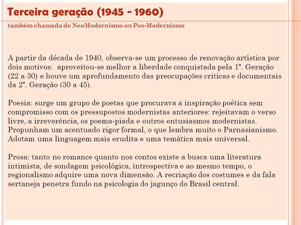 A partir da década de 1940, observa-se um processo de renovação artística por dois motivos: aproveitou-se melhor a liberdade conquistada pela 1ª. Gera