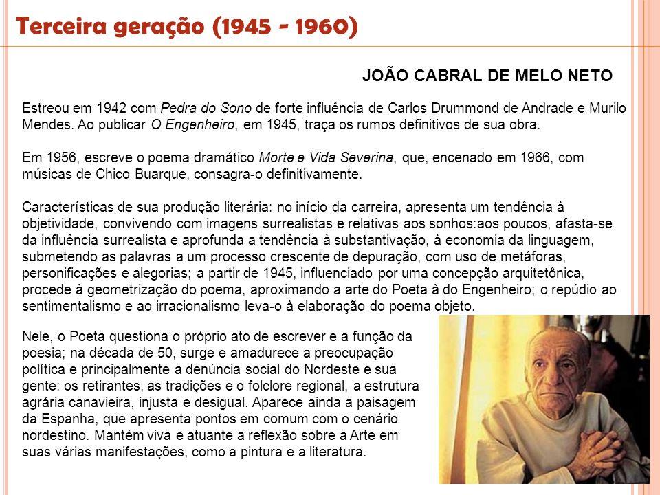 Estreou em 1942 com Pedra do Sono de forte influência de Carlos Drummond de Andrade e Murilo Mendes. Ao publicar O Engenheiro, em 1945, traça os rumos