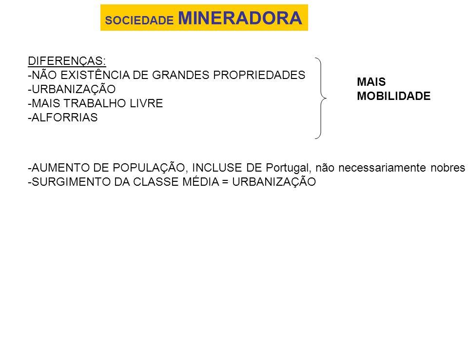 SOCIEDADE MINERADORA DIFERENÇAS: -NÃO EXISTÊNCIA DE GRANDES PROPRIEDADES -URBANIZAÇÃO -MAIS TRABALHO LIVRE -ALFORRIAS MAIS MOBILIDADE -AUMENTO DE POPU