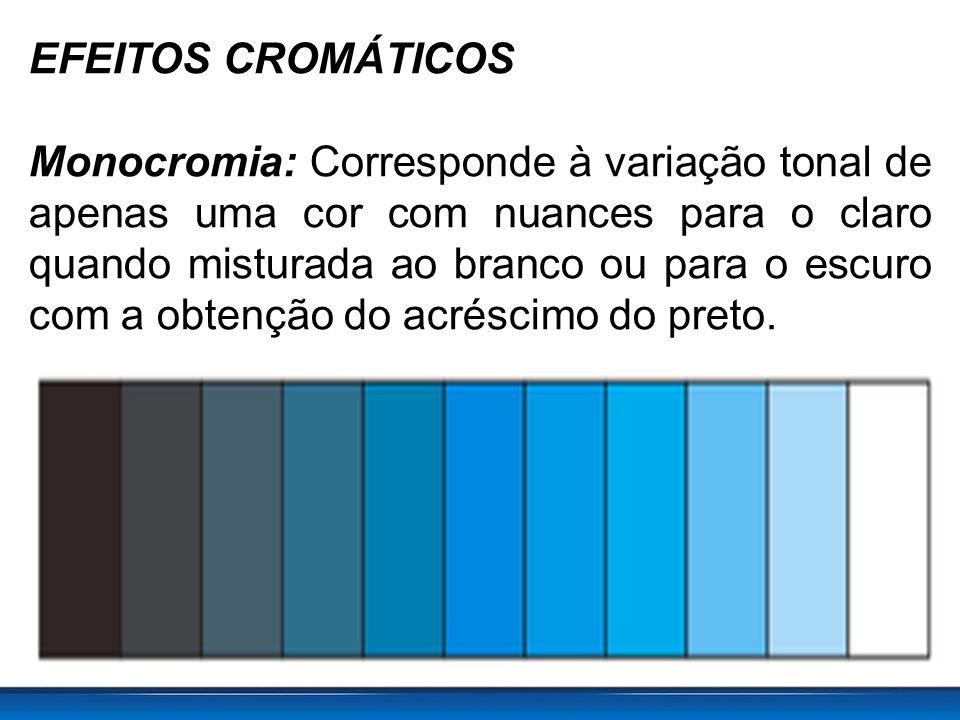 EFEITOS CROMÁTICOS Monocromia: Corresponde à variação tonal de apenas uma cor com nuances para o claro quando misturada ao branco ou para o escuro com a obtenção do acréscimo do preto.