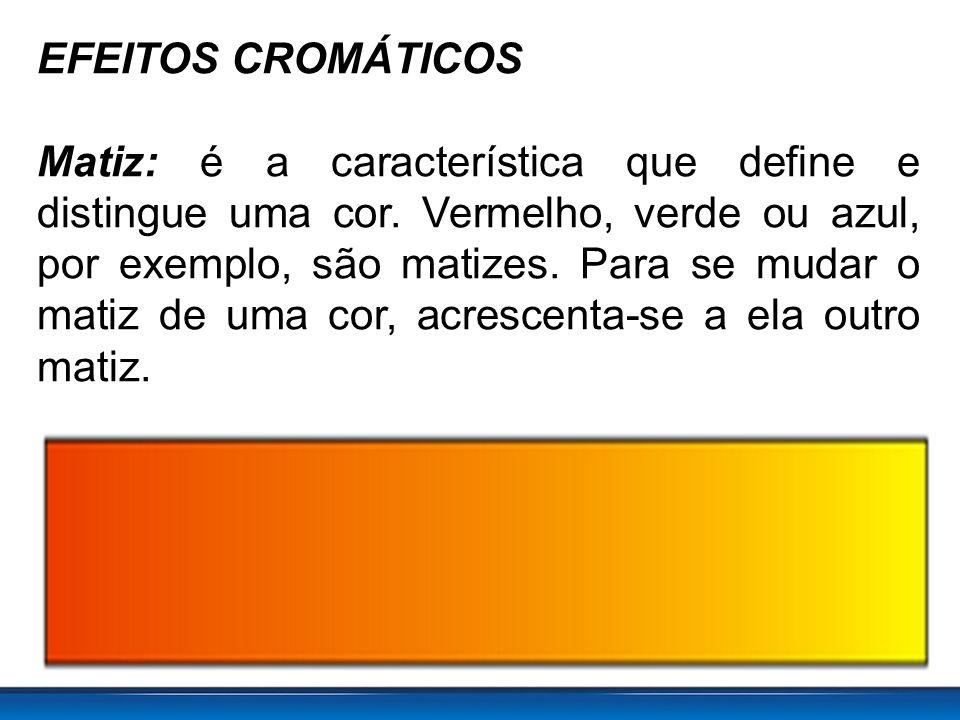 EFEITOS CROMÁTICOS Matiz: é a característica que define e distingue uma cor.