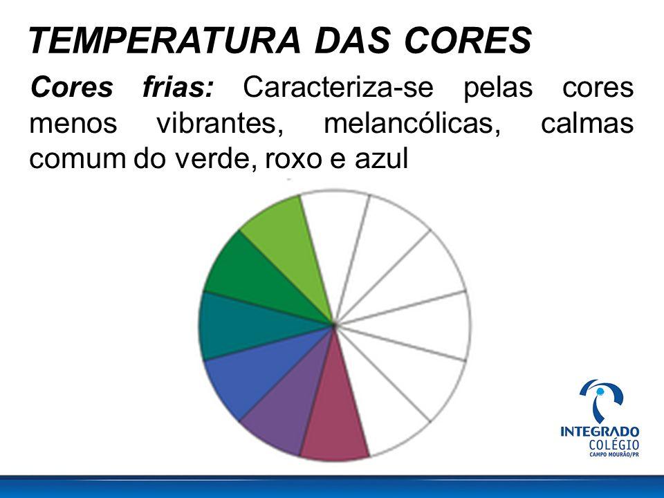 TEMPERATURA DAS CORES Cores frias: Caracteriza-se pelas cores menos vibrantes, melancólicas, calmas comum do verde, roxo e azul