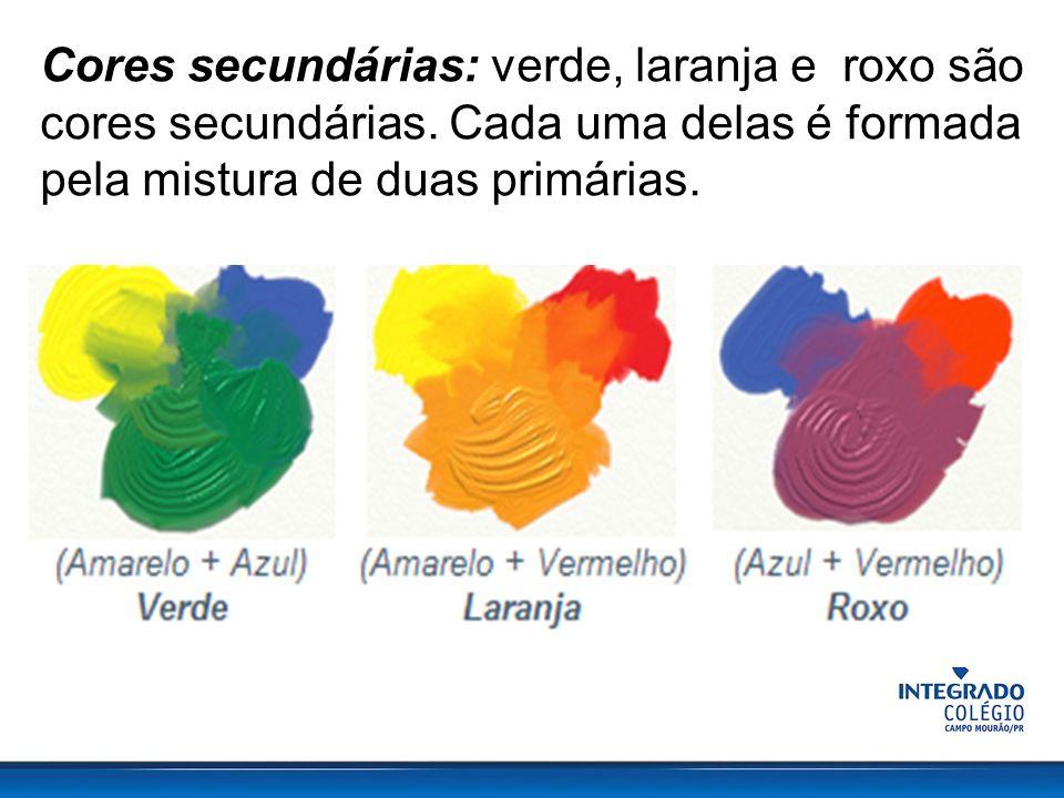 Cores secundárias: verde, laranja e roxo são cores secundárias.