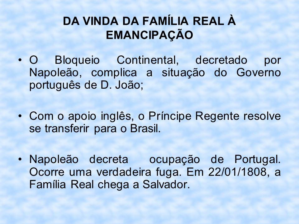 DA VINDA DA FAMÍLIA REAL À EMANCIPAÇÃO O Bloqueio Continental, decretado por Napoleão, complica a situação do Governo português de D. João; Com o apoi