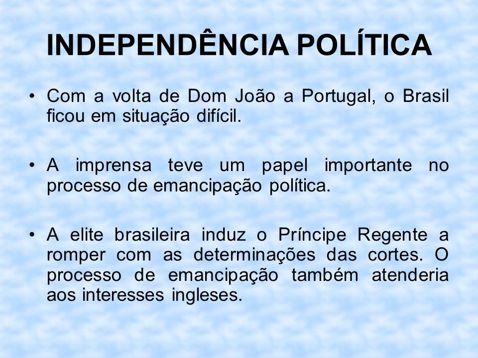 INDEPENDÊNCIA POLÍTICA Com a volta de Dom João a Portugal, o Brasil ficou em situação difícil. A imprensa teve um papel importante no processo de eman