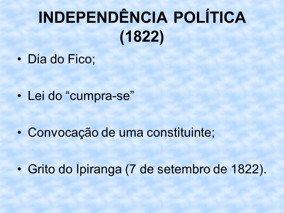 INDEPENDÊNCIA POLÍTICA (1822) Dia do Fico; Lei do cumpra-se Convocação de uma constituinte; Grito do Ipiranga (7 de setembro de 1822).