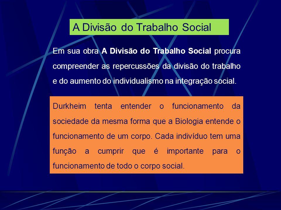 Em sua obra A Divisão do Trabalho Social procura compreender as repercussões da divisão do trabalho e do aumento do individualismo na integração social.
