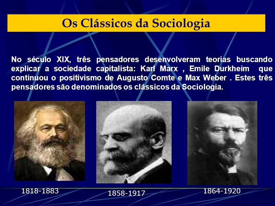 No século XIX, três pensadores desenvolveram teorias buscando explicar a sociedade capitalista: Karl Marx, Emile Durkheim que continuou o positivismo de Augusto Comte e Max Weber.