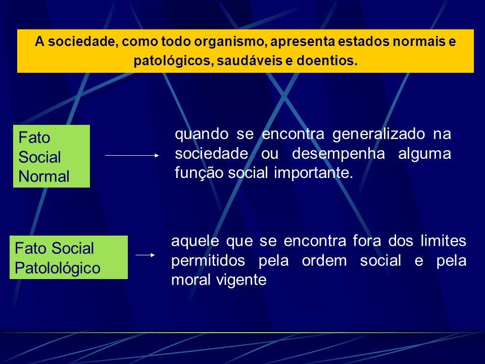 A sociedade, como todo organismo, apresenta estados normais e patológicos, saudáveis e doentios.