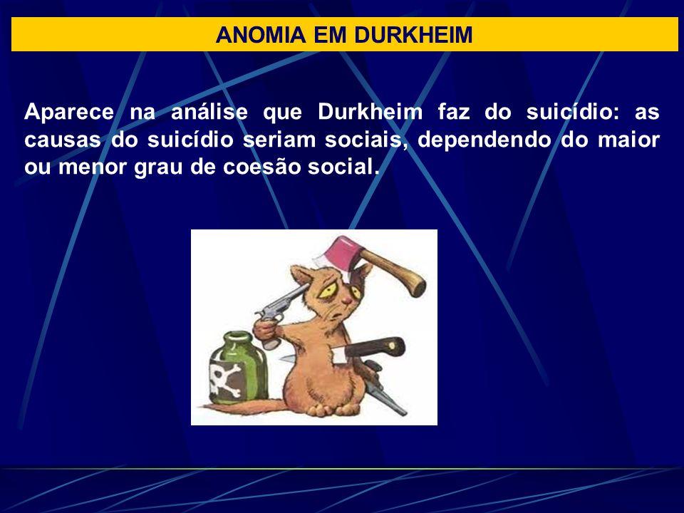ANOMIA EM DURKHEIM Aparece na análise que Durkheim faz do suicídio: as causas do suicídio seriam sociais, dependendo do maior ou menor grau de coesão social.