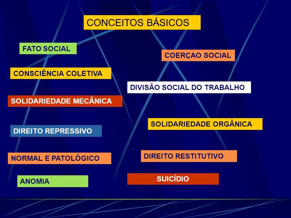 CONCEITOS BÁSICOS FATO SOCIAL COERÇAO SOCIAL CONSCIÊNCIA COLETIVA DIVISÃO SOCIAL DO TRABALHO SOLIDARIEDADE MECÂNICA SOLIDARIEDADE ORGÂNICA DIREITO REPRESSIVO NORMAL E PATOLÓGICO DIREITO RESTITUTIVO SUICÍDIO ANOMIA