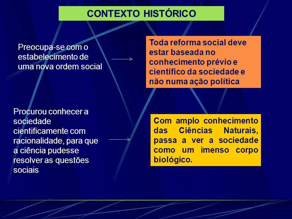 Preocupa-se com o estabelecimento de uma nova ordem social Toda reforma social deve estar baseada no conhecimento prévio e científico da sociedade e não numa ação política Com amplo conhecimento das Ciências Naturais, passa a ver a sociedade como um imenso corpo biológico.