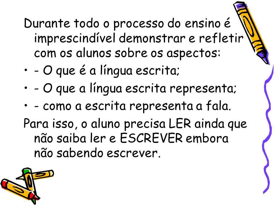 Durante todo o processo do ensino é imprescindível demonstrar e refletir com os alunos sobre os aspectos: - O que é a língua escrita; - O que a língua