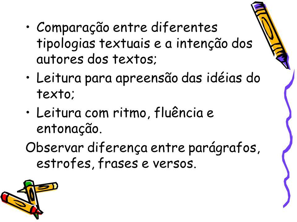 Comparação entre diferentes tipologias textuais e a intenção dos autores dos textos; Leitura para apreensão das idéias do texto; Leitura com ritmo, fl