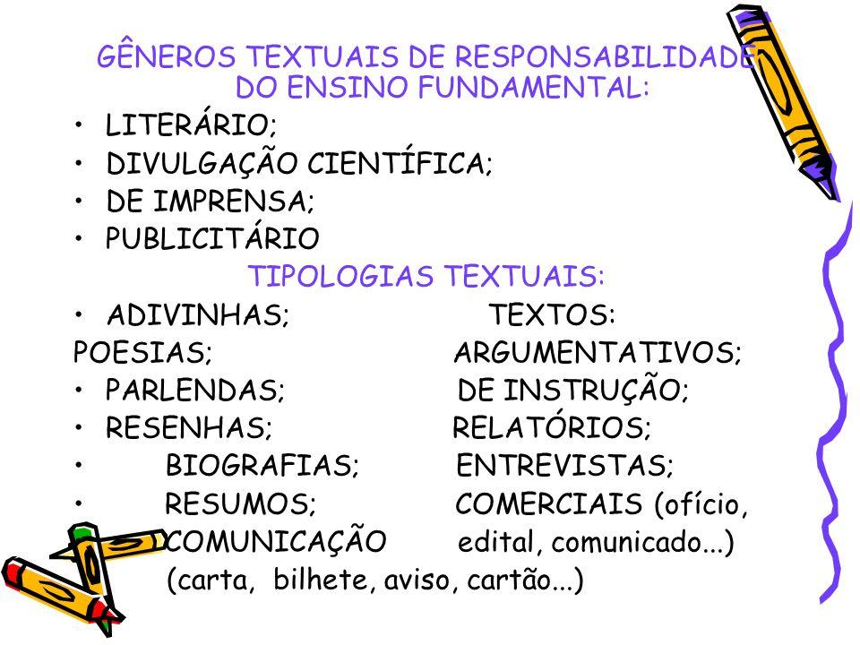 GÊNEROS TEXTUAIS DE RESPONSABILIDADE DO ENSINO FUNDAMENTAL: LITERÁRIO; DIVULGAÇÃO CIENTÍFICA; DE IMPRENSA; PUBLICITÁRIO TIPOLOGIAS TEXTUAIS: ADIVINHAS
