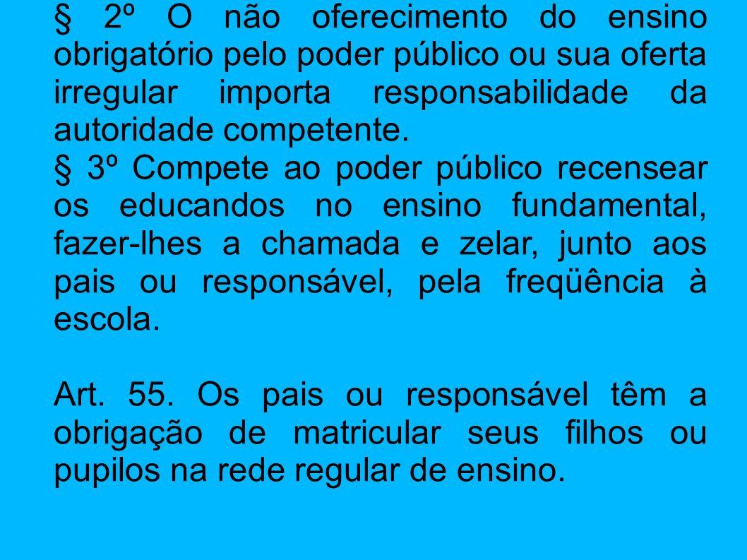 § 2º O não oferecimento do ensino obrigatório pelo poder público ou sua oferta irregular importa responsabilidade da autoridade competente. § 3º Compe